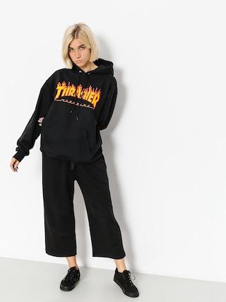 Mikina s kapucí Thrasher Flame HD Wmn (black)