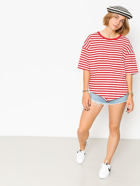 Tričko The Hive Oversized Stripes Wmn (red/white)