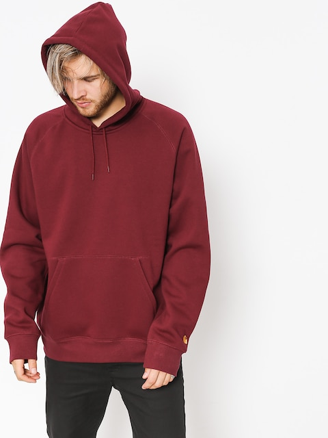 Mikina s kapucí Carhartt WIP Chase HD (mulberry/gold)