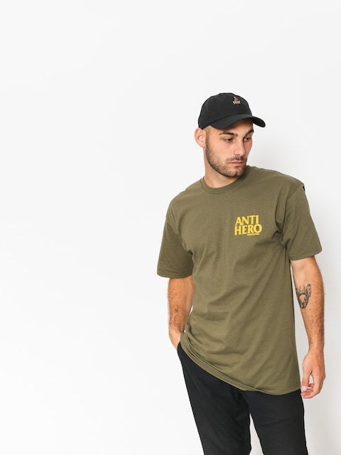 Tričko Antihero Lil Blckhro (military green/yellow)