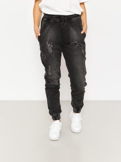 Kalhoty Diamante Wear Rm Jeans Jogger Wmn (ripped black jeans)