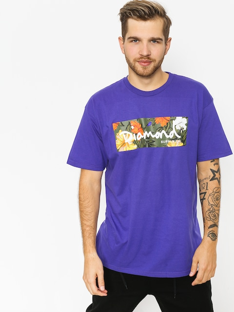 Tričko Diamond Supply Co. Aloha Floral Box Logo (purple)