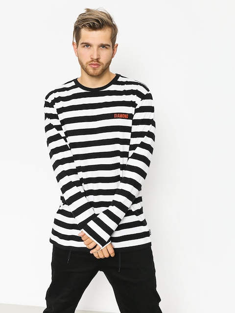 Triko Diamond Supply Co. Diamond Striped Ls (black/white)