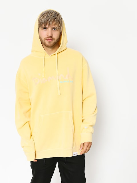 Mikina s kapucí Diamond Supply Co. Og Script Pigment Dyed HD (yellow)