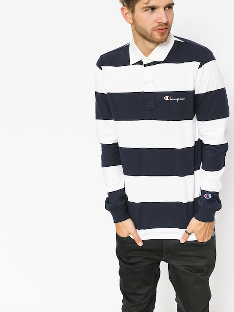 Triko Champion Long Sleeve Polo T Shirt (nny/wht)