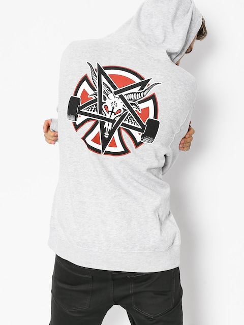 Mikina s kapucí Independent x Thrasher Pentagram Cross HD (grey heather)