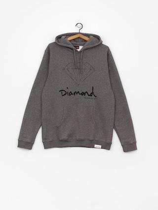 Mikina s kapucí Diamond Supply Co. Og Sign HD (gunmetal heather)