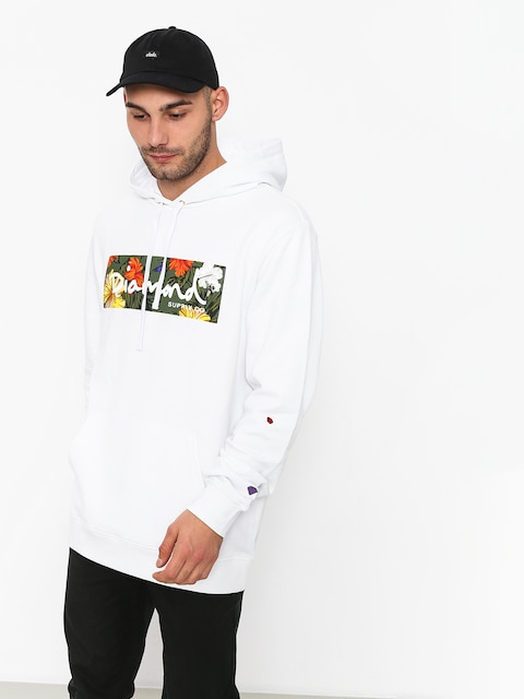 Mikina s kapucí Diamond Supply Co. Aloha Floral Box Logo HD (white)